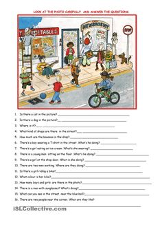 Colour ws: Students have to answer some questions Grammar points: There is /t. - Colour ws: Students have to answer some questions Grammar points: There is /there are, have/has - English Writing Skills, English Lessons, English Vocabulary, Teaching English, Learn English, Picture Comprehension, Comprehension Activities, Reading Comprehension, Comprehension Questions