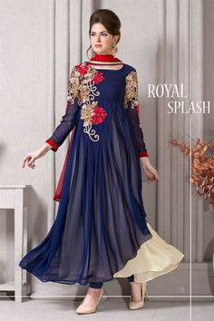 Cream-Blue Georgette #Anarkali #Suit with Embroidery