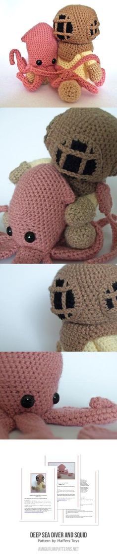 Deep Sea Diver and Squid Found at Amigurumipatterns.net