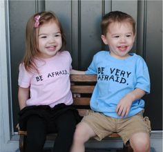 Twin Shirt Set BE VERY AFRAID by MacyMayDesigns on Etsy, $26.00