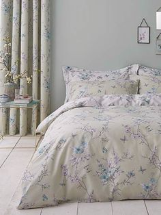 This finely detailed floral designed duvet cover set is feminine and timeless with a contrasting reverse for easy colour change. Crafted from a soft and durable. Blackout Eyelet Curtains, Curtains Dunelm, External Lighting, Stylish Beds, Duvet Cover Sizes, Lauren Green, Bedroom Accessories, Bed Covers, Home And Living