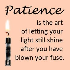 Patience is the art of letting your light still shine after you have blown your fuse. Fun Quotes, Best Quotes, Funny Phrases, Favorite Words, Random Thoughts, Make Me Smile, Patience, Quotations, Wisdom