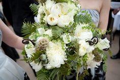 Flora Nova Design, Seattle event design, Seattle best wedding flowers, green wedding bouquets, brides maids bouquets, poppy pods, fern curl, white peonies, wedding bouquet