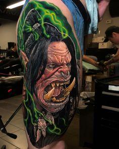 World of Warcraft Orc Tattoo Uncategorized Gaming Tattoo Guys Leg Tattoos Orcs World of Warcraft WoW Badass Tattoos, Body Art Tattoos, Tattoos For Guys, Portrait Tattoos, Tattoo Guys, Evil Tattoos, Shape Tattoo, Color Tattoo, World Of Warcraft Orc