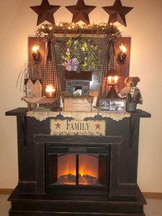 Home Decor Habitacion Primitive Fireplace, Rustic Primitive Decor, Primitive Living Room, Primitive Homes, Prim Decor, Primitive Kitchen, Primitive Furniture, Faux Fireplace, Country Furniture