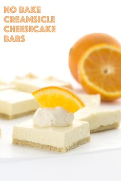 Creamy orange cheesecake bars that require no baking, these low carb, sugar-free treats will make you feel like a kid again! Keto THM Atkins recipe.  @wholesomesweet Sponsored