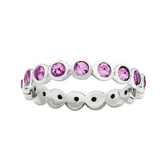 "Personally Stackable ""October"" Pink Crystal Sterling Silver Eternity Ring"