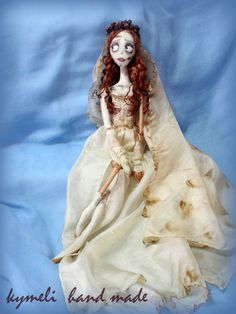 Lonely Emily Clay Dolls, Art Dolls, Corpse Bride, Lonely, Hand Lettering, Disney Princess, Inspiration, Dresses, Fashion