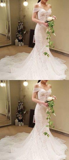 Elegant Mermaid Wedding Dress - Off the Shoulder Court Train Lace M1357