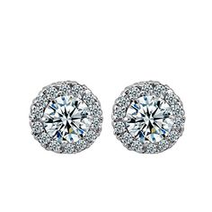 Calors Vitton Fashion Jewelry White Gold Plated Cubic Zirconia Stud Earrings *** You can find out more details at the link of the image. Note:It is Affiliate Link to Amazon.
