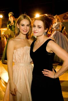 Lily James and Helena Bonham Carter at the 'Cinderella' Exibithion at the 65th Berlinale on February 13, 2015.