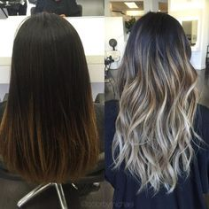 Smoky Ash Blonde Balayage Color Melt For Lusciously Wavy Black Brown