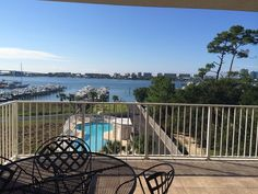 Balcony view from Harbor Cove 412; one of our newest rental properties.  Harbor Cove offers its own boat slip with lift!