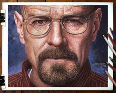 """""""Bryan Cranston - Walter White - Breaking Bad"""" Color pencils Faber Castell Polychromos and Caran d'Ache Pablo on paper Canson 160 gr. Draw Realistic, Realistic Pencil Drawings, Hyper Realistic Paintings, Walter White, Colored Pencil Portrait, Color Pencil Art, Celebrity Drawings, Celebrity Portraits, Breaking Bad"""