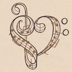 Urban Threads: Unique and Awesome Embroidery Designs Music Drawings, Art Drawings, Music Notes Decorations, Embroidery Hearts, Embroidery Thread, Embroidery Tattoo, Embroidery Jewelry, Note Tattoo, Music Symbols