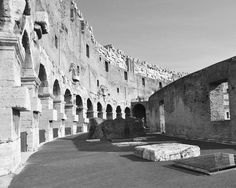 Original black and white photography print featuring an interior view of the Colosseum in Rome, Italy.      TITLE: COLOSSEUM INTERIOR