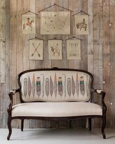 We are especially excited about our embroidered fabric yardage program this season for bringing Coral & Tusk into the home in new custom and endless ways! It was a total dream to find this Setee on a trip this Summer and upholster it with our Feathers Border Yardage. Also new for wall decor we have introduced Art Flags as a way to display some of our classic and favorite designs in the home!  find embroidered fabric and art flags online now at coralandtusk.com  by @katelaceyphoto…