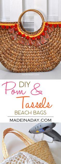 DIY Tassel Pom Beach Bag Makeover madeinaday.com