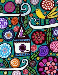 Off Today - Bird Art - Birdhouse Folk Art Print Poster of Painting Flower Pattern Drawing, Flower Patterns, Poster Prints, Art Prints, Modern Artists, Portraits, Whimsical Art, Elementary Art, Fabric Painting