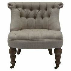 "Handmade tufted linen accent chair a rolled back and castered feet.  Product: ChairConstruction Material: Linen and oak woodColor: Gray and burnt oakFeatures: 14"" Seat height HandmadeDimensions: 28.3"" H x 26.7"" W x 26"" D"