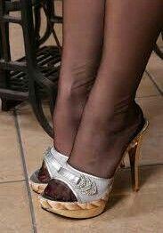 The pleasure of high Heels: Silver mules black pantyhose Nylons And Pantyhose, Nylons Heels, Sexy Heels, Stiletto Heels, Stilettos, High Heel Mule Shoes, Black High Heels, Stockings Legs, Fashion Heels