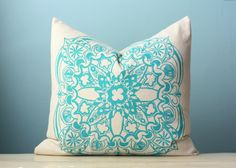 Turquoise Moroccan Linen Pillow Cover