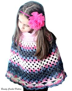 Crochet Poncho Pattern, Women Ponchos, Granny Square Pattern, Poncho Crochet Pattern Child - Women size  Poncho pattern in granny texture with large collar and beauty butterfly border. Skill level : Easy-Intermediate  Pattern includes 2 sizes: Child and Women Materials youll need: Worsted Weight Yarn, 10 ply  Hook sizes: H (5 mm); 7 mm  Buy more and Save in the shop! http://www.etsy.com/shop/BeautyCrochetPattern  If you like more than one of mine patterns, please use one o...
