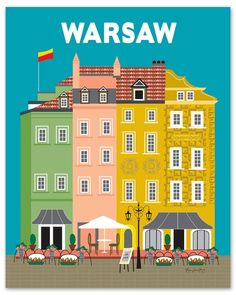 Warsaw, Poland Vertical Wall Art Poster Print - Graphic Design hand illustrated by local artist - Graphic Design Print, Graphic Prints, Hand Illustration, Illustrations, Party Vintage, Poland Travel, Office Prints, Warsaw Poland, Voyage Europe