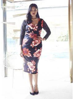 a4b116dcd8d Anna Scholz Lace Trim Print Dress Plus Size Fashion Tips