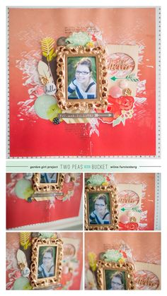 Scrapbook page. Love this idea: using a miniature picture frame for a scrapbook page.