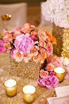 Cute table piece, wrap your vases in gold sequin ribbon