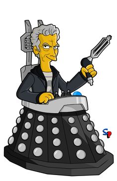 The Twelfth Doctor in Davros' chair - Springfield Punx. I Am The Doctor, Doctor Who Fan Art, 12th Doctor, Twelfth Doctor, Original Doctor Who, Doctor Who Christmas, Simpsons Characters, Sci Fi Tv Shows