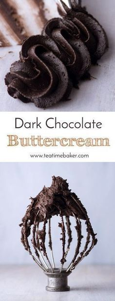 Dark Chocolate Buttercream is the perfect topping for your next cake or cupcakes. Just the right consistency for piping. & The Teatime Baker & Chocolate buttercream recipe & The post Dark Chocolate Buttercream appeared first on Food Monster. Cupcake Toppings, Cupcake Recipes, Cupcake Cakes, Dessert Recipes, Icing Recipes, Muffin Cupcake, Cake Boss Recipes, Cake Filling Recipes, Icing Tips