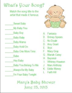 Whats Your Song Baby Shower Game   Google Search