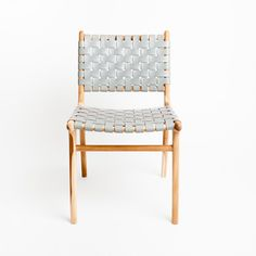 Tanner Dining Chair - Grey. Barnaby Lane.  The Tanner dining chair is a classic. Woven leather on a blonde teak frame they are the perfect statement to any dining room.