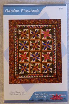 Pattern, Garden Pinwheels by Prairie Sky Quilting, Fat Quarter Friendly, Pinwheel Blocks for 5 Sizes Quilts