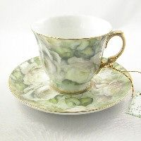 Ganz White Roses Tea Cup and Saucer
