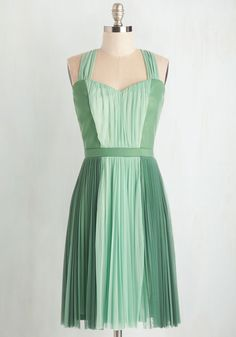 Refresh Your Fancy Dress - Mid-length, Woven, Green, Pleats, Special Occasion, Prom, Wedding, Party, Bridesmaid, Homecoming, Colorblocking, A-line, Exclusives, Mint, Vintage Inspired, Spring, Pastel