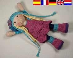 Crochet pattern for doll SUE (Deutsch, English, Français, Español, Nederlands)