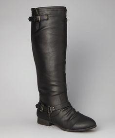 Look at this #zulilyfind! TOP MODA Black Double-Buckle Coco Boot by TOP MODA #zulilyfinds