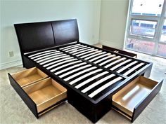Our with split slats can be brought easily into homes with small doorways and staircases. Bed Parts, Modern Furniture Stores, Bedroom Bed, Floor Chair, Drawers, Staircases, Storage, Beds, House