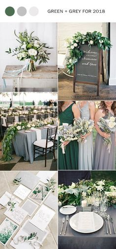 elegant green and grey wedding color ideas for 2018 #WeddingIdeasGreen #WeddingIdeasElegant