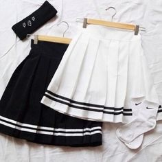 skirt cute girly grunge tumblr clothes outfit fashion black and white nike socks pleated skirt