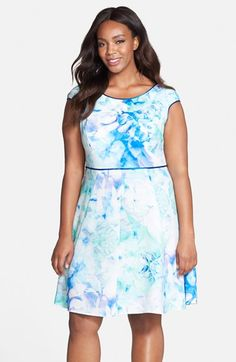 Julia Jordan Watercolor Fit & Flare Dress (Plus Size) available at #Nordstrom
