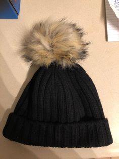 a161f0f18718e J Crew NWT Wool Cashmere Faux Fur Pom Pom Black Beanie Hat  fashion   clothing