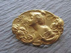 Art Nouveau Brooch 18 Karat Gold Lady And Irises by SarahAndJohns, $750.00