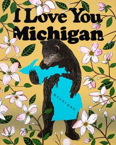 Our I Love You Michigan Print celebrates the Great Lakes State with its official flower, the apple blossom. Designed by Annie Galvin at 3 Fish Studios in San Francisco, California, and printed on-site in the Outer Sunset with 8-color UltraChrome K3™ inks on 300gsm Hot Press Bright paper. Archival, highest possible quality.