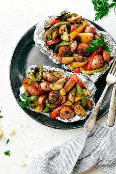 Foil Pack Italian Sausage and Seasoned Veggies! A great outdoor grill or camping recipe. PLUS instructions to cook this in the stove and without foil!