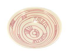 Porzellan-Schüssel mit rotem Liniendekor in afr...
