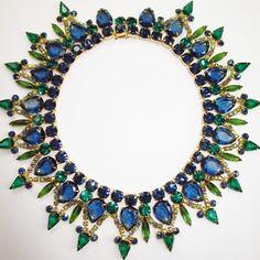 Fabulous and Divine Vintage Juliana Blue & Green Bib Collar Necklace, circa 1960's